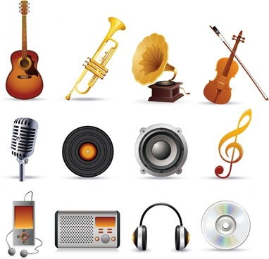 music icons modern 3d sketch