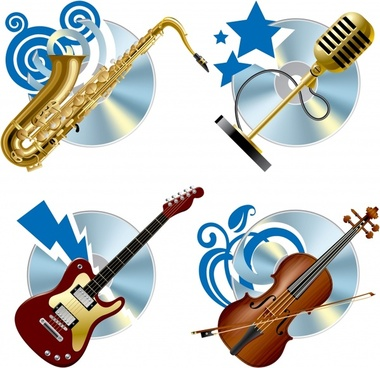 music icons modern trumpet microphone guitar violin sketch
