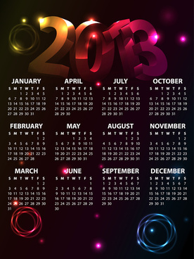 fashion of13 calendars elements vector set