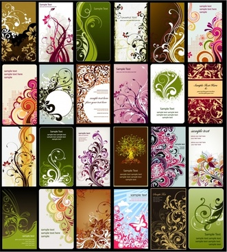 card background templates collection colorful floral curves sketch