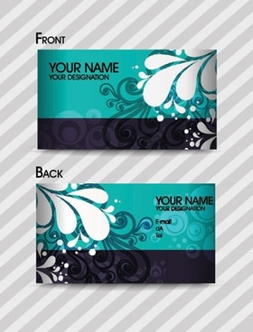 business card template classical floral sketch curves decor
