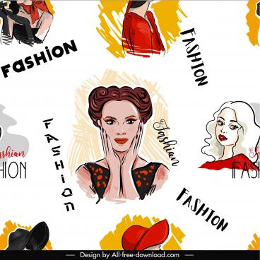 fashion pattern template handdrawn ladies portrait sketch