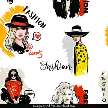 fashion pattern template ladies sketch handdrawn classic