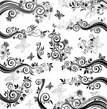 nature pattern classical black white flowers butterflies elements