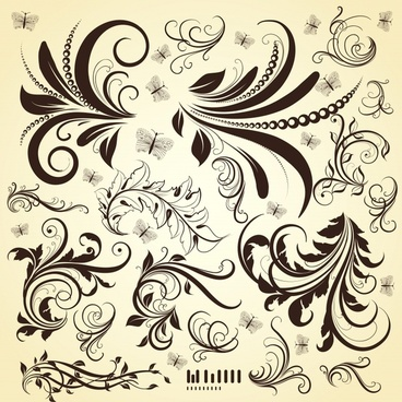 flower pattern template classical brown sketch curves ornament