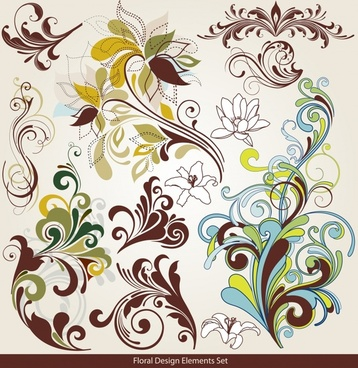 pattern design elements colored classical flat curves decor