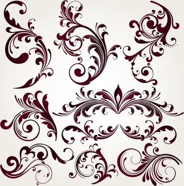 pattern design elements retro symmetrical seamless curves sketch