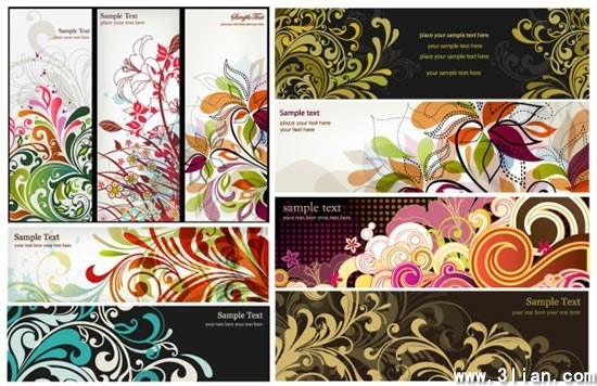 card cover templates colorful floral curves decor