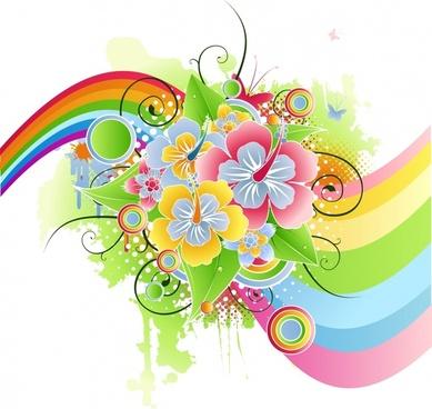 decorative background template colorful botany rainbow design