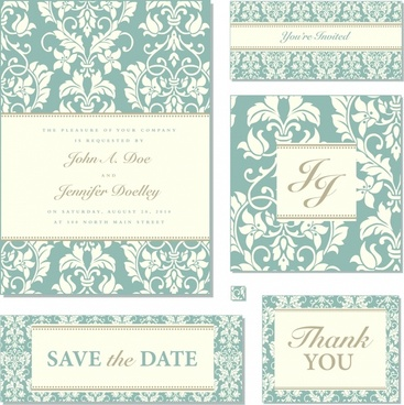 wedding card templates elegant retro symmetric decor elements