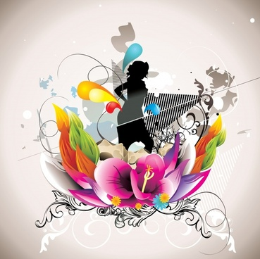 decorative background lady silhouette colorful botany sketch