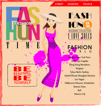 fashion poster design with trendy girl in violet