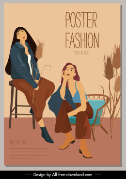 fashion poster template beautiful models sketch