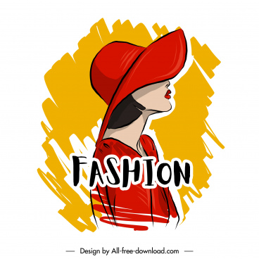 fashion poster template handdrawn cartoon design