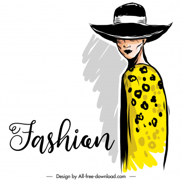 fashion poster template handdrawn design lady sketch