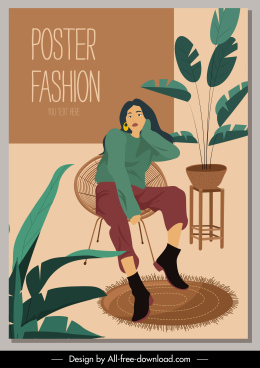 fashion poster template relaxed woman sketch cartoon character