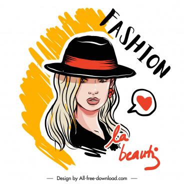 fashion poster young lady portrait sketch handdrawn cartoon