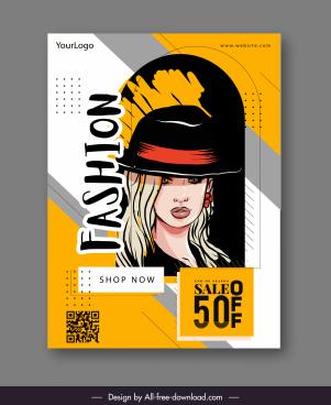 fashion sale banner lady portrait sketch classical design