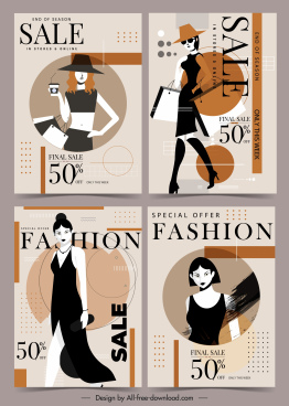fashion sale banners elegant lady sketch