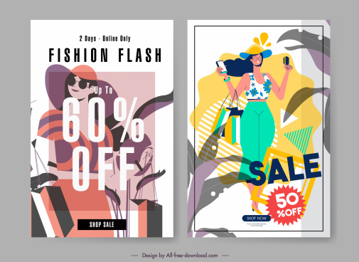 fashion sale banners lady icon flat handdrawn sketch