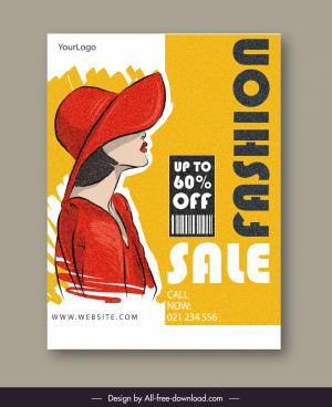 fashion sale poster elegant lady sketch retro handdrawn