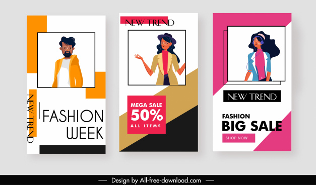 fashion sale templates cartoon characters sketch