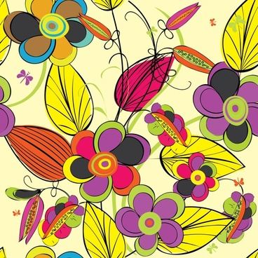 flower painting colorful flat handdrawn sketch