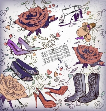 fashion background retro female footwears rose flower sketch