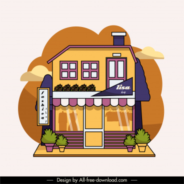 fashion shop exterior template colorful flat sketch