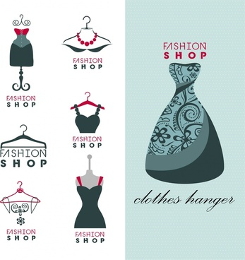 fashion shop logo sets isolated with dress display