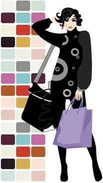 fashion background female shopper sketch cartoon character