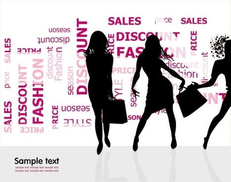 fashion shopping beauty silhouette 01 vector