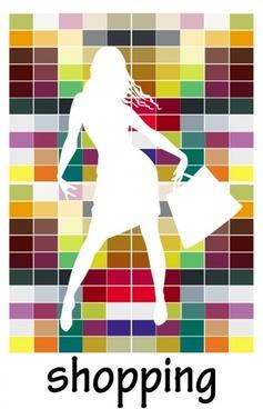 fashion shopping beauty silhouette 03 vector