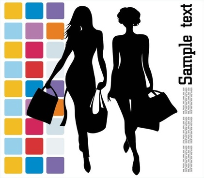 fashion shopping beauty silhouette 04 vector