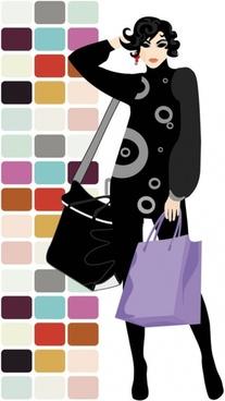 fashion shopping beauty silhouette 05 vector