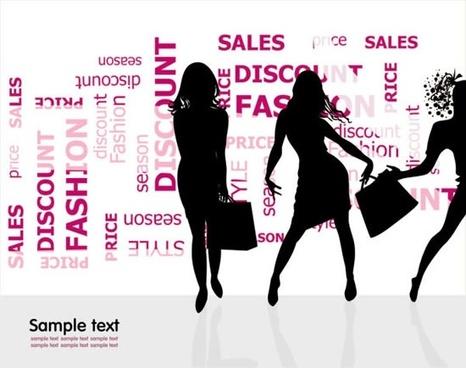 fashion shopping beauty silhouette vector