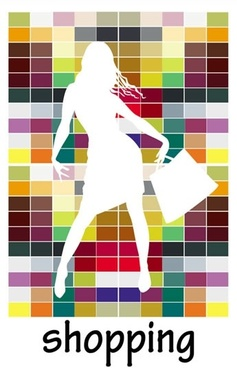 shopping background white silhouette shopper colorful squares