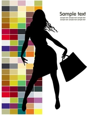 fashion background modern shopper silhouette icon sketch