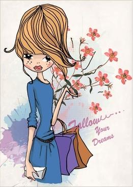 fashion shopping girl 01 vector