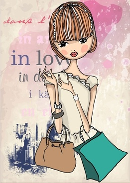 fashion shopping girl 05 vector