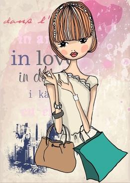 fashion shopping girl 05 vector