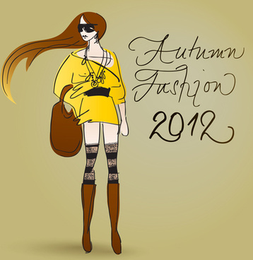 fashion shopping girls vector background