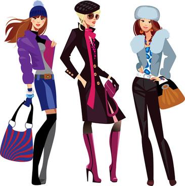 fashion shopping girls vector set