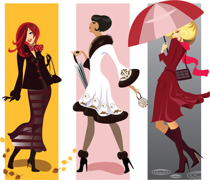 fashion shopping girls vector set