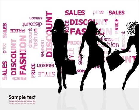 Fashion Shopping Silhouettes Vector Illustration