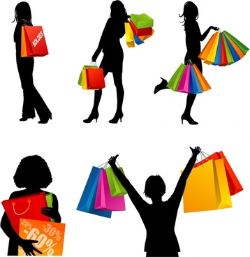 shopping woman icons silhouette design colorful bags ornament