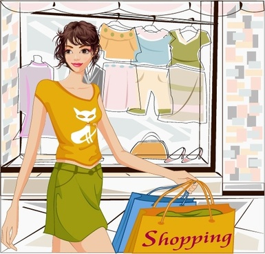 shopping background young lady icon cartoon sketch