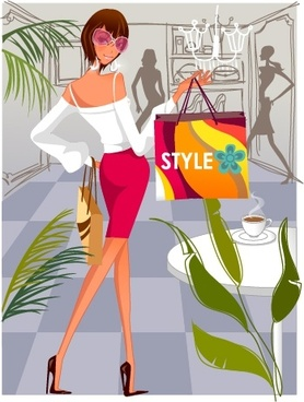 shopping background young lady icon cartoon character design