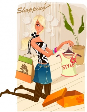 shopping advertising background stylish lady icon cartoon sketch