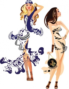 fashion trend of shopping women silhouettes vector illustration